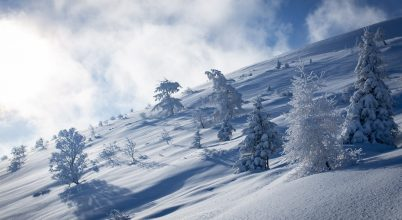 Tél végi havas tájak