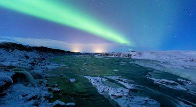 A nap képe: Urridafoss és a sarki fények