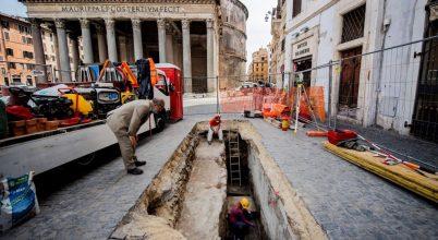 Római útburkolat került elő a Pantheonnál