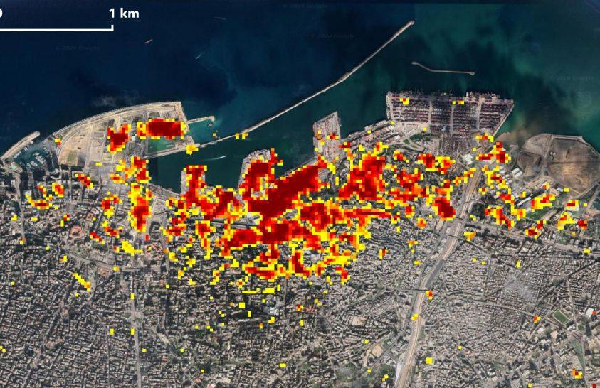 Katasztrófafelmérés műholdról: így néz ki a bejrúti robbanás helyszíne