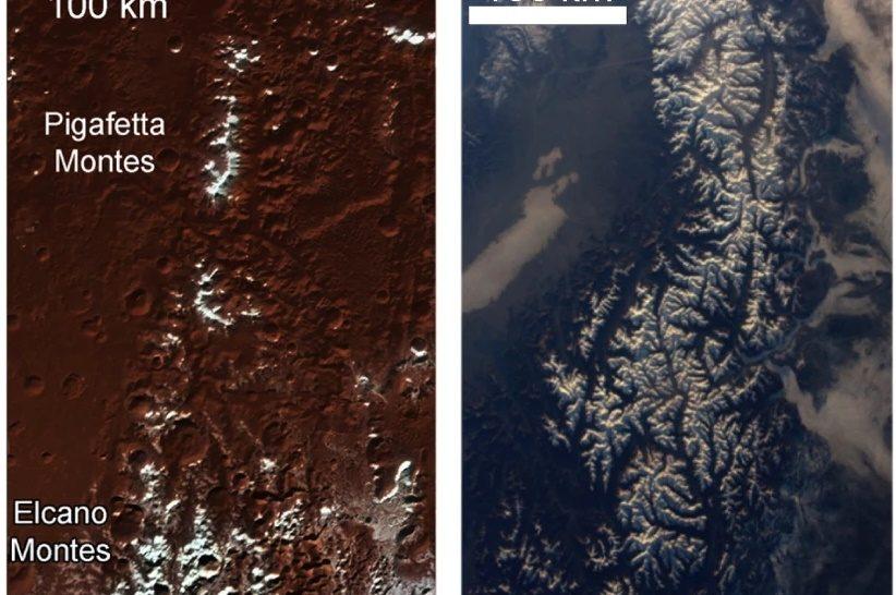A Pluto havas hegycsúcsai