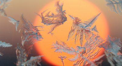Jégvirágokkal díszített napkorong